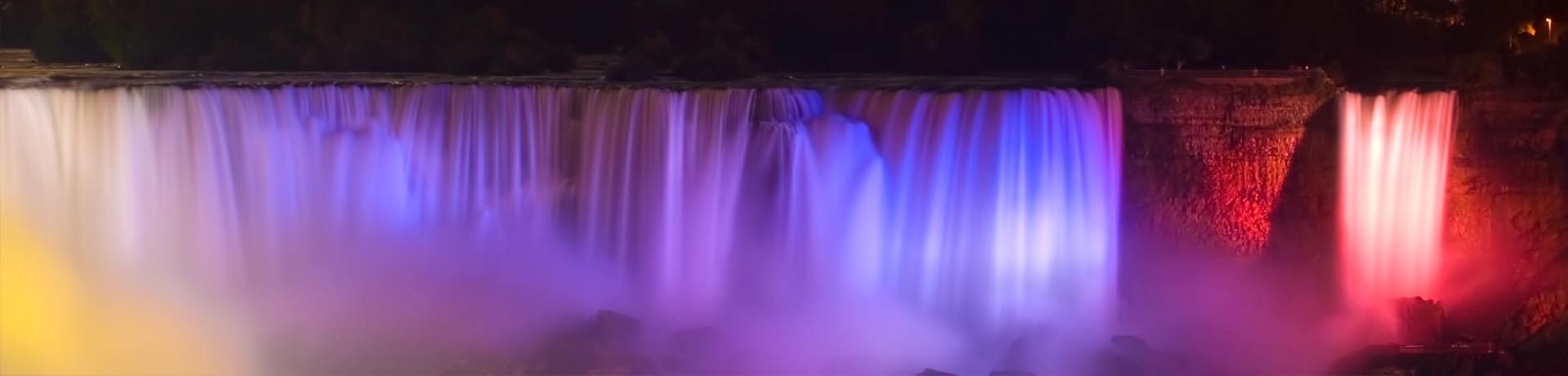 Niagara Falls at night with the lights