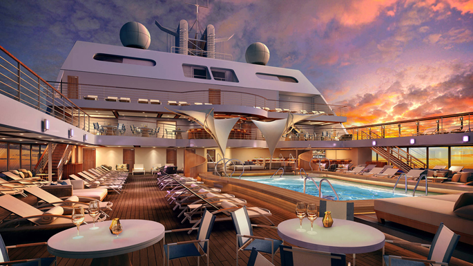 Seabourn Encore Swimming Pool at Sunset