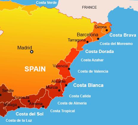 Map of Costa Brava and the Spanish Coast