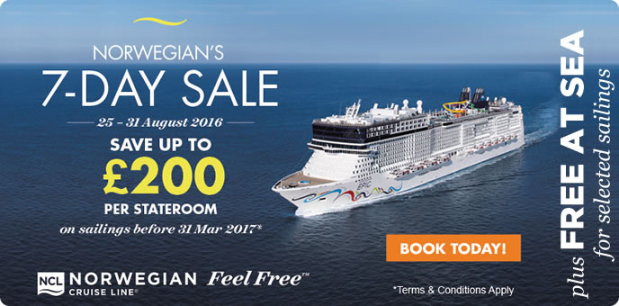 Norwegian Cruise Lines - 7 Day Sale & FREE at Sea