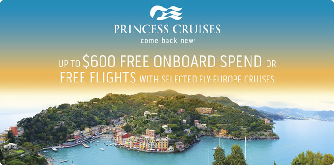 Free flights or on board spending money with Princess Cruises
