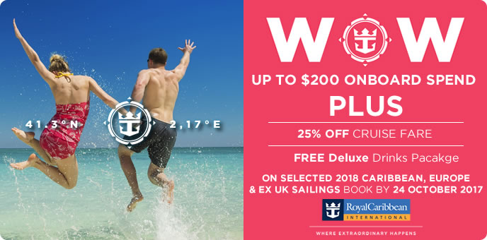 Royal Caribbean - OBC, Free Drinks & 25% off