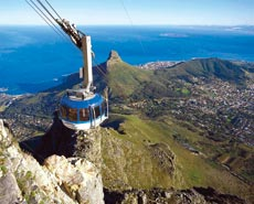 Cable car venturing down Cape Town's Table Mountain