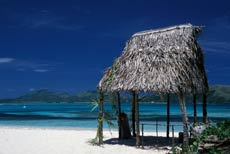 Thatched hut on white sand beaches of the Yasawa Islands